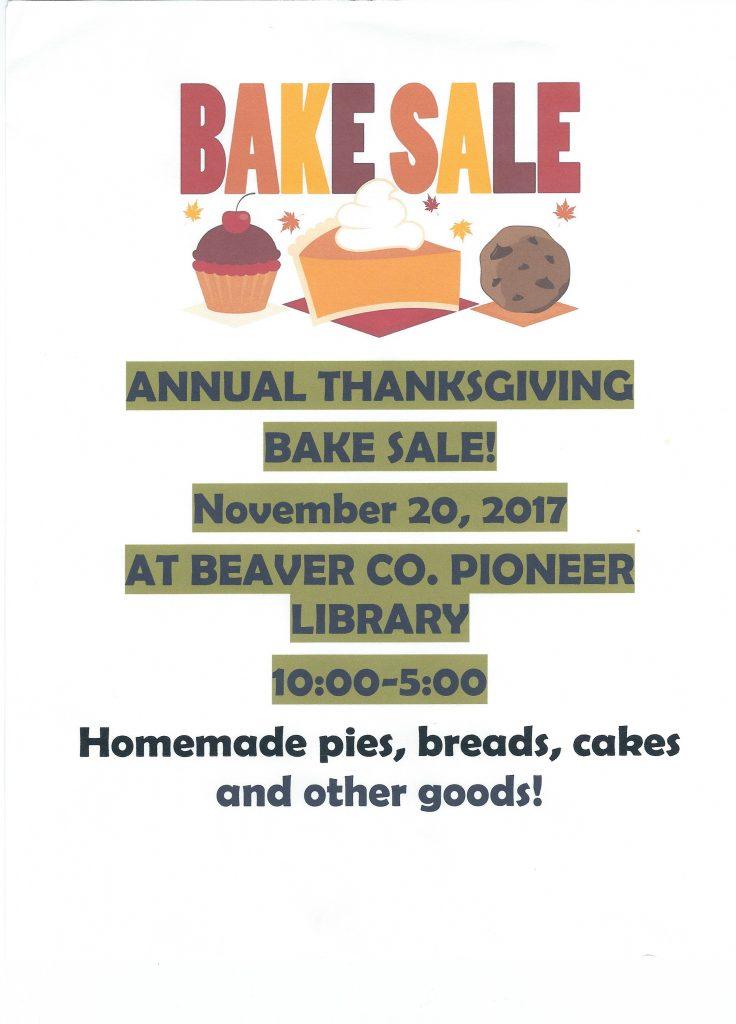 Annual Thanksgiving Bake Sale